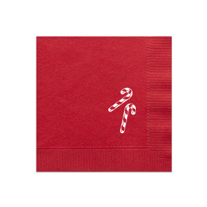 Personalized Convertible Red Luncheon Napkin with Matte White Foil has a Candy Cane graphic and is good for use in Christmas themed parties and couldn't be more perfect. It's time to show off your impeccable taste.