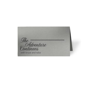 ForYourParty's chic Metallic Sterling Silver Matte Signature Place Card with Matte Black Foil can be customized to complement every last detail of your party.