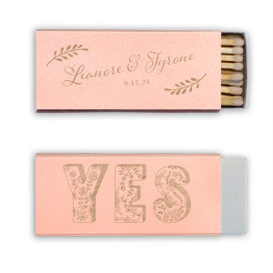 Our personalized Stardream Ballet Pink Euro Matchbox with Shiny Champagne Foil has a Yes graphic and is good for use in Love and Wedding themed parties and can be customized to complement every last detail of your party.