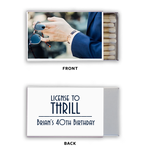 Our custom Photo/Full Color Matchbox with Matte Navy Ink Print Color will make your guests swoon. Personalize your party's theme today.