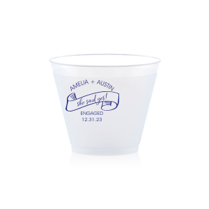 The ever-popular 9 oz Frost Flex Cup with Matte Cobalt Ink Cup Ink Colors has a She Said Yes graphic and is good for use in Wedding, Engagement and Bridal Shower themed parties and are a must-have for your next event—whatever the celebration!