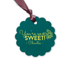 Personalized Poptone Teal/Peacock Rectangle Gift Tag with Matte Mimosa Yellow Foil has a Candy graphic and is good for use in Kid Birthday, Food, Birthday themed parties and can be customized to complement every last detail of your party.