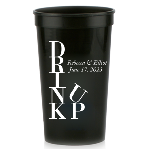 Our beautiful custom Black 32 oz Stadium Cup with Matte White Ink Cup Ink Colors will give your party the personalized touch every host desires.