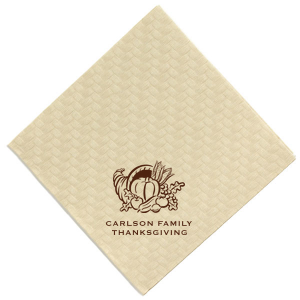 The ever-popular Woven Sand Woven Cocktail Napkin with Matte Navy Foil has a Thanksgiving graphic and is good for use in Thanksgiving themed gatherings and can be customized to complement every last detail of your party.