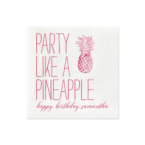 Our beautiful custom Fuchsia Cocktail Napkin with Matte White Foil has a Pineapple graphic and is good for use in Food themed parties and will give your party the personalized touch every host desires.
