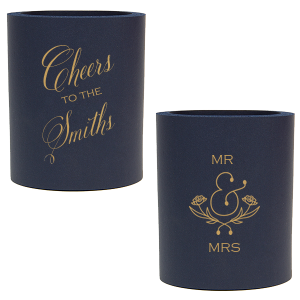 Our custom Navy Slim Can Cooler with Gold Ink Cup Ink Colors has a Accent Ampersand 2 graphic and is good for use in Accents, Words, Wedding themed parties and can't be beat. Showcase your style in every detail of your party's theme!