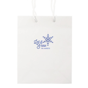 ForYourParty's chic White Goodie Bag with Shiny Lavender Foil Color has a Snowflake graphic and is good for use in Holiday, New Years, Christmas themed parties and can't be beat. Showcase your style in every detail of your party's theme!