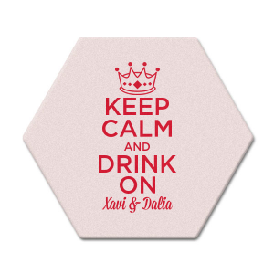 The ever-popular Eggshell Square Coaster with Satin Lipstick Red Foil has a Crown 3 graphic and is good for use in Kid Birthday, Princess, Birthday themed parties and can be customized to complement every last detail of your party.