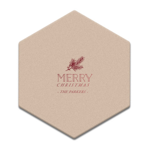 Custom Kraft w/ Blush back Hexagon Coaster with Shiny Merlot Foil Color has a Pine graphic and is good for use in Floral, Outdoors, Organic themed parties and will impress guests like no other. Make this party unforgettable.