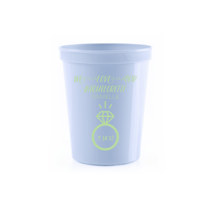 ForYourParty's chic Powder Blue 16 oz Stadium Cup with Matte Mint Ink Cup Ink Colors has a Diamond Ring graphic and is good for use in Wedding, Bridal Shower, Bachelorette themed parties and will look fabulous with your unique touch. Your guests will agree!