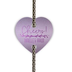 ForYourParty's personalized Stardream Lavender Heart Straw Tag with Shiny Amethyst Foil has a Leaf Vine graphic and is good for use in Frames themed parties and can't be beat. Showcase your style in every detail of your party's theme!