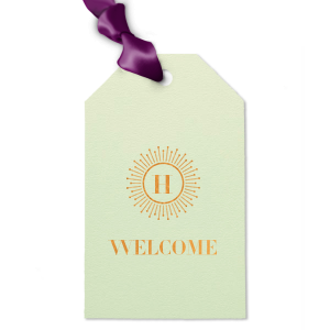 ForYourParty's elegant Poptone Mint Double Point Gift Tag with Shiny Copper Foil Color has a sunburst frame 2 graphic and is good for use in Frames themed parties and can be customized to complement every last detail of your party.