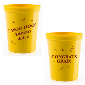 Our custom Yellow 16 oz Stadium Cup with Matte Merlot Ink Cup Ink Colors will look fabulous with your unique touch. Your guests will agree!