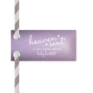 Custom Stardream Lavender Wave Straw Tag with Matte White Foil will give your party the personalized touch every host desires.