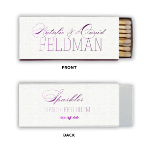 Customize this Lavender matchbox for a personalized party favor to remember! The classic script font is paired with our heart branch graphic for a traditional, trendy feel. End your wedding reception with a fabulous sparkler send off.
