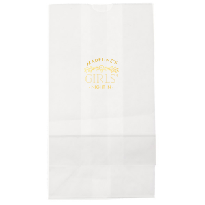 Personalized White Goodie Bag with Shiny 18 Kt Gold Foil Color has a Marigold Vine graphic and is good for use in Accents themed parties and will look fabulous with your unique touch. Your guests will agree!