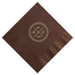 Our personalized Espresso Brown Cocktail Napkin with Matte Ivory Foil has a Badge graphic and is good for use in Wedding, Anniversary and Home themed parties and can be personalized to match your party's exact theme and tempo.