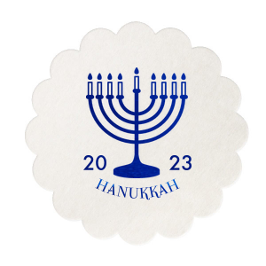 ForYourParty's personalized Silver with Black back Nouveau Coaster with Shiny Royal Blue Foil Color has a Menorah graphic and is good for use in Jewish Symbols, Holiday themed parties and are a must-have for your next event—whatever the celebration!