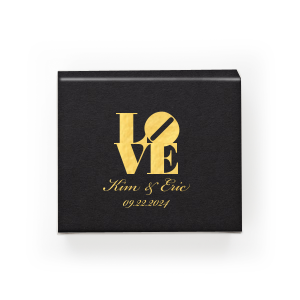 Our custom Natural Black Pyramid Box with Shiny 18 Kt Gold Foil will make your guests swoon. Personalize your party's theme today with a bit of Love.
