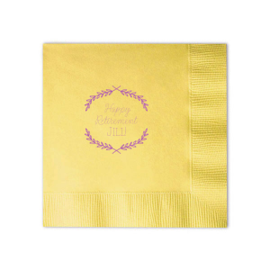 Custom Pastel Yellow Cocktail Napkin with Satin Plum Foil Color has a Branch Frame 1 graphic and is good for use in Frames, Floral themed parties and will add that special attention to detail that cannot be overlooked.