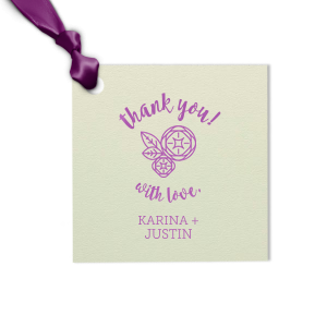 Thank guests for attending your wedding with a small favor tied with a themed gift tag. Personalize our Peony design with your names and date. Keep our Mint paper and Plum foil or choose your own theme colors.