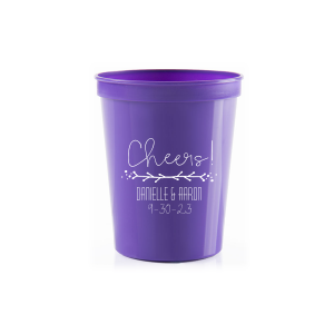 Our custom Purple 16 oz Stadium Cup with Matte White Ink Cup Ink Colors has a Leaf Vine graphic and is good for use in Frames themed parties and will make your guests swoon. Personalize your party's theme today.