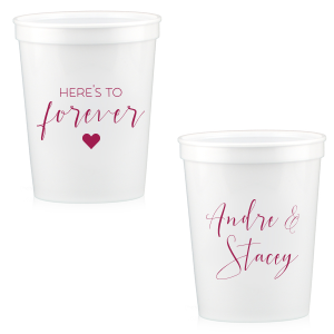 Custom White 16 oz Stadium Cup with Matte Dark Magenta Ink Cup Ink Colors has a Solid Heart graphic and is good for use in Wedding, Hearts, Anniversary themed parties and will make your guests swoon. Personalize your party's theme today.