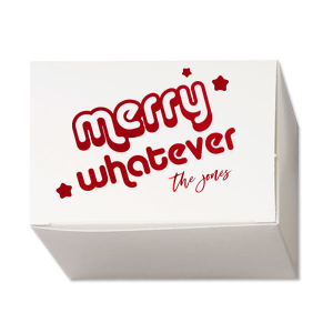 Our custom Stardream Crystal White Rectangle Box with Shiny Convertible Red Foil has a Merry Whatever graphic and is good for use in Christmas and Holiday themed parties and will look fabulous with your unique touch. Your guests will agree!