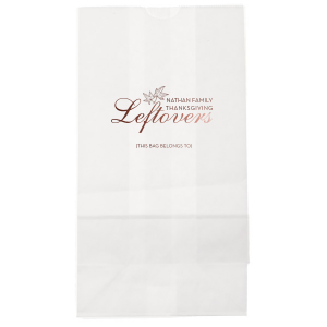 Custom White Gift Bag with Shiny Merlot Foil has a Two Leaves graphic and is good for use in Fall and Thanksgiving themed parties and can be personalized to match your party's exact theme and tempo.