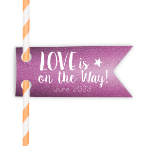 Our custom Stardream Plum Rectangle Straw Tag with Matte White Foil are a must-have for your next event—whatever the celebration!