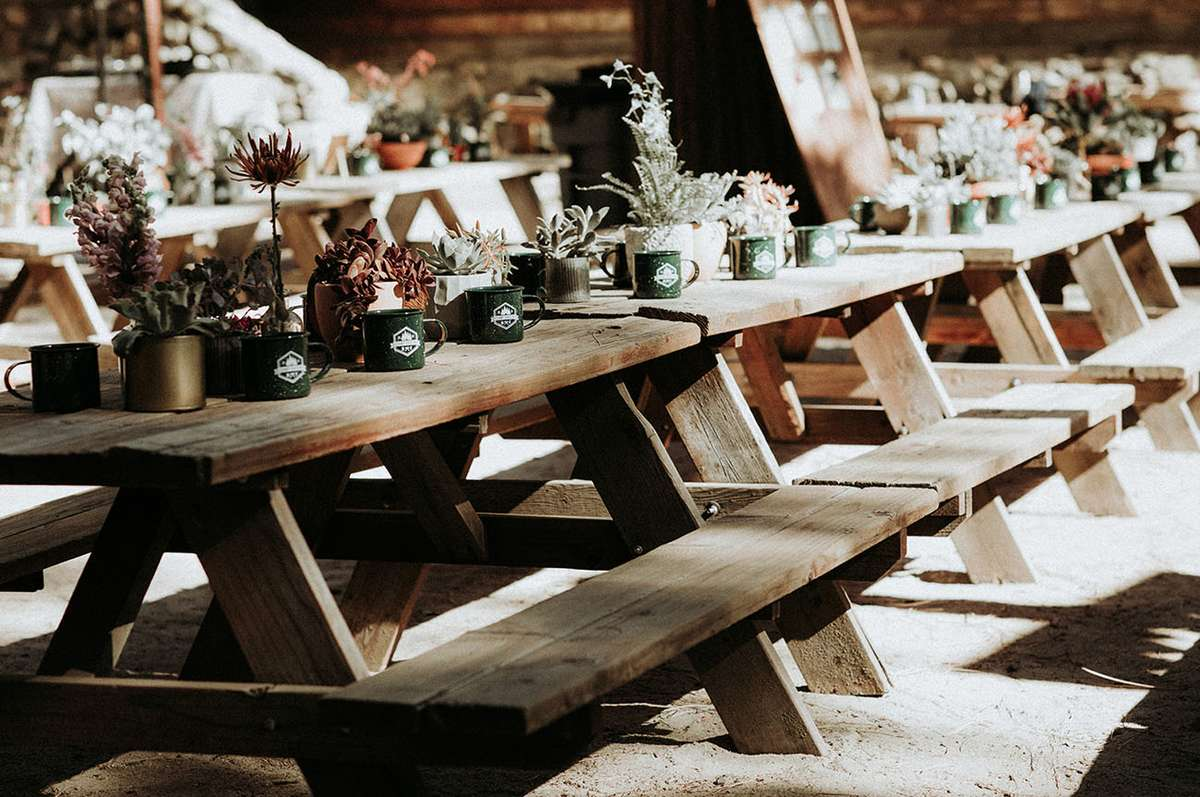 summer camp ultra themed wedding reception tables