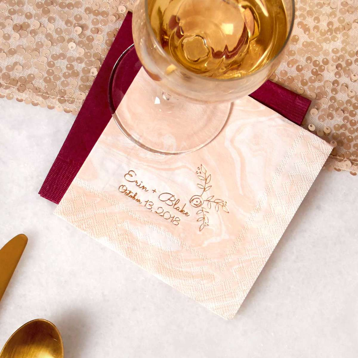 personalized marble wedding napkins