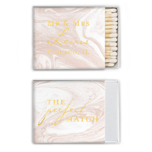 Our custom printed Mr. and Mrs. classic wedding matchboxes are the perfect combination of modern and vintage that will add the right touch of personalization on your wedding day! Easily create custom wedding favor matches to coordinate with your wedding theme by choosing from our wide selection of paper and foil printing options and adding your custom text.