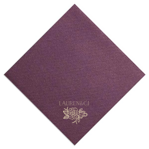ForYourParty's chic Eggplant Linen Like Dinner Napkin with Matte Ivory Foil has a Peony Accent graphic and is good for use in Floral, Wedding and Bridal Shower themed parties and can't be beat. Showcase your style in every detail of your party's theme!
