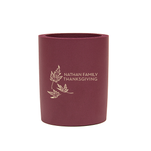 The ever-popular Maroon Round Can Cooler with Matte Ivory Ink Cup Ink Colors has a Three Leaves graphic and is good for use in  Holiday and Thanksgiving themed parties and will make your guests swoon. Personalize your party's theme today.