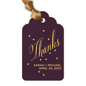 Our custom Natural Amethyst Luggage Gift Tag with Shiny 18 Kt Gold Foil can be personalized to match your party's exact theme and tempo.