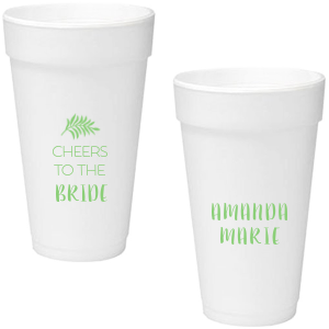 Our custom Matte Key Lime Ink 16 oz Styrofoam Cup with Matte Key Lime Ink Cup Ink Colors has a Leaves graphic and is good for use in Floral themed parties and can be customized to complement every last detail of your party.