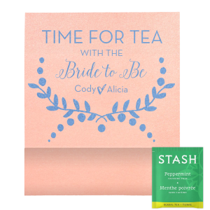 The ever-popular Stardream Ballet Pink Tea Favor with Shiny 18 Kt Gold Foil has a Branch 3 graphic and is good for use in Bridal themed parties and can't be beat. Showcase your style in every detail of your party's theme!