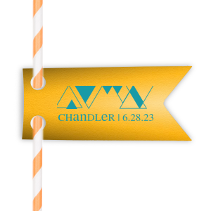 Our custom Poptone Sunflower Rectangle Straw Tag with Matte Teal/Peacock Foil has a Triangles graphic and is good for use in Mitzvah, Birthday and Modern Wedding parties and will impress guests like no other. Make this party unforgettable.