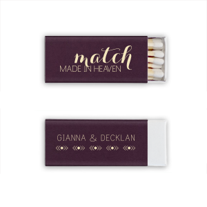 Our custom Natural Amethyst Triangle Matchbox with Matte Ivory Foil Color has a Diamond Stripe graphic and is good for use in Love themed parties and can't be beat. Showcase your style in every detail of your party's theme!