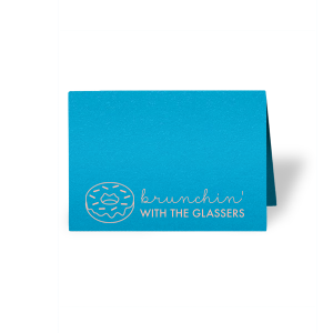 ForYourParty's elegant Poptone Dark Turquoise Tempo Place Card with Matte Pastel Pink Foil has a Donut graphic and is good for use in Food, Birthday, and Brunch themed parties and are a must-have for your next event—whatever the celebration!