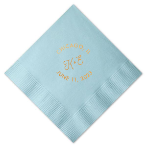 Our personalized Sky Blue Cocktail Napkin with Satin Copper Penny Foil are a must-have for your next event—whatever the celebration!