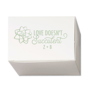 ForYourParty's chic Cake Boxes – OUT OF STOCK with Shiny Green Tea Foil has a Succulent 1 graphic and is good for use in Organic, Trendy, Southwestern and Floral themed parties and will add that special attention to detail that cannot be overlooked.