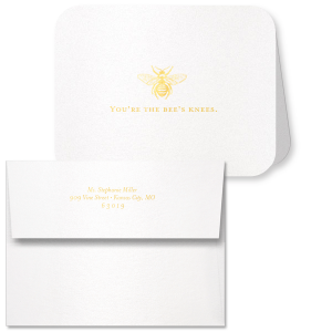 The ever-popular Stardream Crystal White Classic Note Card with Envelope with Shiny 18 Kt Gold Foil has a Bee graphic and is good for use as thank you notes and will look fabulous with your unique touch. Your guests will agree!