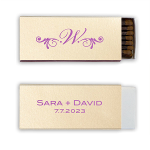 Personalized Stardream Ivory Candle Matchbox with Satin Plum Foil Color and Shiny Leaf Foil Color has a Decorative Flourish graphic and is good for use in Accents themed parties and will give your party the personalized touch every host desires.