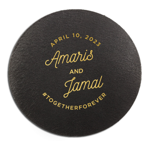 ForYourParty's personalized White Round Coaster with Shiny 18 Kt Gold Foil will add that special attention to detail that cannot be overlooked.