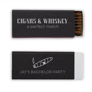 What goes best with cigars and whiskey? Sulfur free cigar matches! Personalize your bachelor party cigar bar with custom matches. Keep this black and silver combination, or choose colors to match your theme.