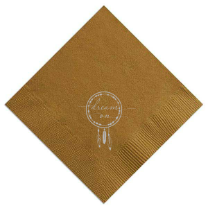 Custom Mustard Gold Luncheon Napkin with Satin Silver Foil has a Dreamcatcher graphic and is good for use in Southwestern, Trendy, Inspirational and Milestone themed parties and will give your party the personalized touch every host desires.