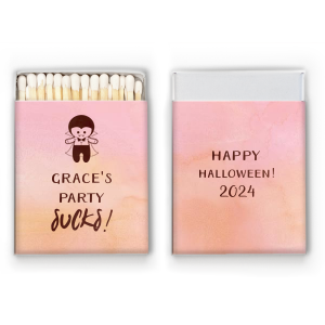 ForYourParty's personalized Watercolor Rose Cigar Matchbox with Shiny Merlot Foil has a Dracula graphic and is good for use in Halloween themed parties and can be customized to complement every last detail of your party.