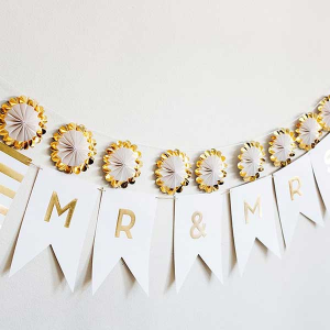 "Fancy Mr and Mrs Letter Banner - Personalized - Set of 1 - 5 x 5"""" by ForYourParty.com"
